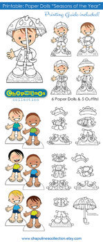 Paper Dolls - Printable - Seasons of the Year - Boys - Color & BW - Set 026