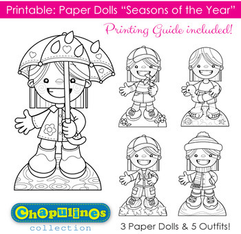 Paper Dolls Printable, Seasons of the Year, Girls - B/W - Coloring Pages Set 019