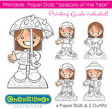 Paper Dolls - Printable - Seasons of the Year - Girls - Color & B/W - Set 025
