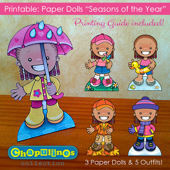 Paper Dolls - Printable - Seasons of the Year - Girls - Full Color - Set 022