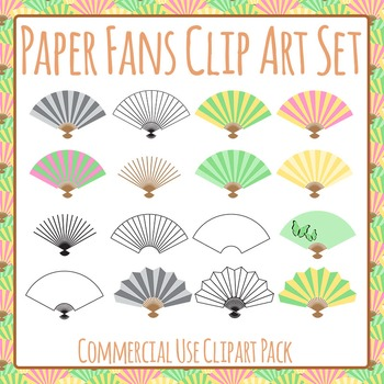 Paper Fans Clip Art Set for Commercial Use