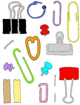 Paper Fasteners Clip Art Pack: 157 PNGs Paper Clips, Staples, Binder Clips +MORE