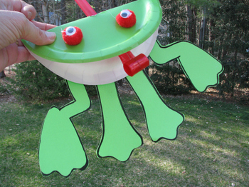 Paper Frog Legs template for paper plate frog with party blower tongue
