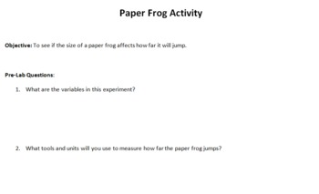 Paper Frog Scientific Method Lab