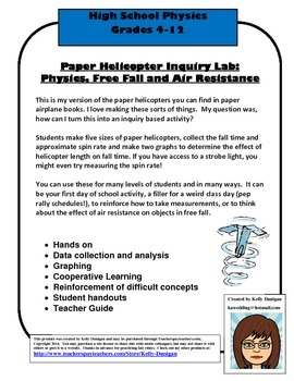 Paper Helicopter Activity - Air Resistance, Freefall - Physics