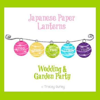 Paper Lanterns -  Wedding Art, Garden Part Art Printable T