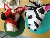 Paper Mache Animal Head Busts