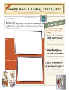 Paper Mache Animal Heads Planning Worksheet