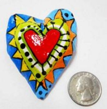 Paper Mache Heart Pins, Magnets, Pendants and Ornaments - Valentine's Project