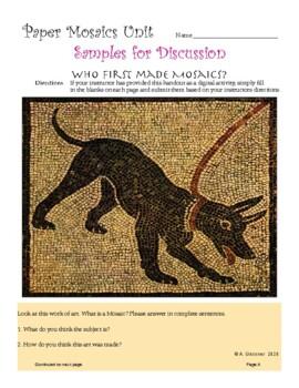 Art - Paper Mosaics Introduction & Unit 6-8 grade