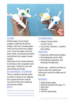 Paper Mouse Finger Puppets - exploring 2d & 3d shapes, songs and story telling