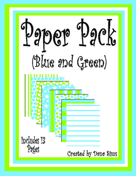 Paper Pack: Blue and Green