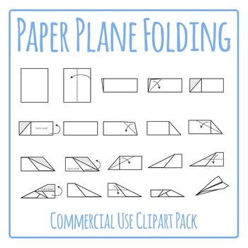 Paper Plane Folding Instructions Sequence Clip Art for Commercial Use