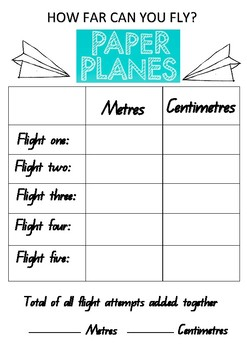 Paper Planes Measurement Activity