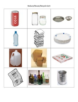 Paper, Plastic, Aluminum Sorting Cards (conservation)