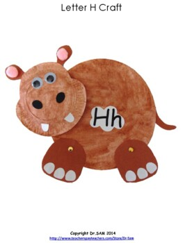 Paper Plate Hippo Craft for Letter Hh  sc 1 st  Teachers Pay Teachers & Paper Plate Hippo Craft for Letter Hh by Dr SAM | TpT