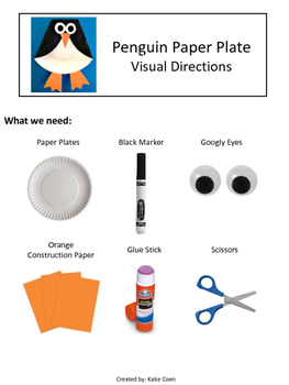 Penguin Paper Plate - Visual Directions - Art Project