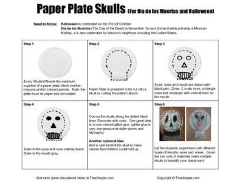 Halloween Art Paper Plate Skulls for Dia de los Muertos & Halloween.  Elementary