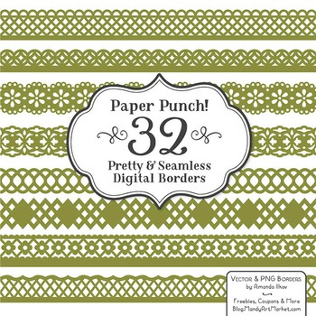Paper Punch Avocado Borders Clipart & Vectors - Border Cli