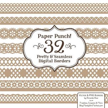 Paper Punch Champagne Borders Clipart & Vectors - Border C