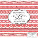 Paper Punch Coral Borders Clipart & Vectors - Border Clip Art, Page Borders