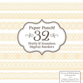 Paper Punch Cream Borders Clipart & Vectors - Border Clip