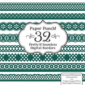 Paper Punch Emerald Borders Clipart & Vectors - Border Clip Art, Page Borders