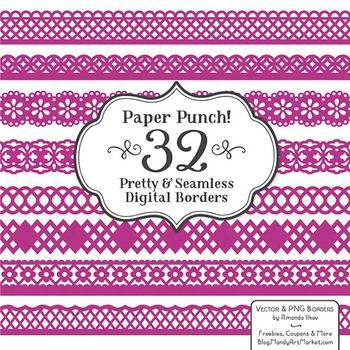 Paper Punch Fuchsia Borders Clipart Vectors Border Clip Art Page