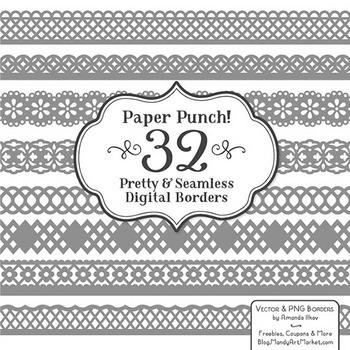Paper Punch Grey Borders Clipart & Vectors - Border Clip A
