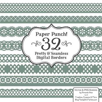 Paper Punch Hemlock Borders Clipart & Vectors - Border Cli