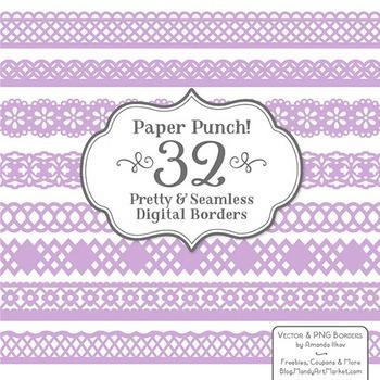 Paper Punch Lavender Borders Clipart & Vectors - Border Clip Art, Page Borders
