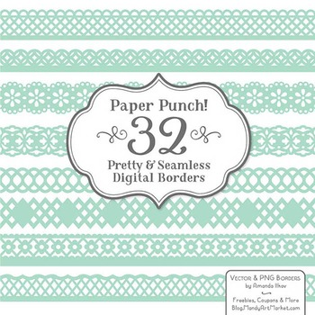 Paper Punch Mint Borders Clipart & Vectors - Border Clip Art, Page Borders
