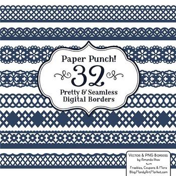 Paper Punch Navy Borders Clipart & Vectors - Border Clip Art, Page Borders