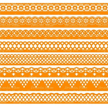 Paper Punch Orange Borders Clipart & Vectors - Border Clip Art, Page Borders
