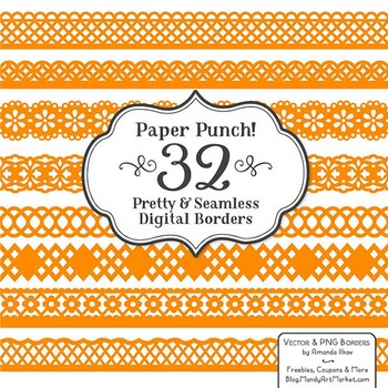 Paper Punch Orange Borders Clipart & Vectors - Border Clip