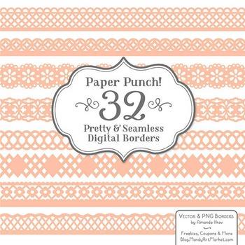 Paper Punch Peach Borders Clipart & Vectors - Border Clip Art, Page Borders