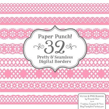 Paper Punch Pink Borders Clipart & Vectors - Border Clip A