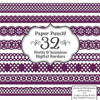 Paper Punch Plum Borders Clipart & Vectors - Border Clip Art, Page Borders