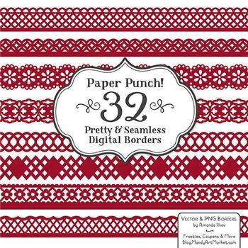 Paper Punch Ruby Borders Clipart & Vectors - Border Clip Art, Page Borders