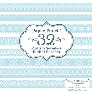 Paper Punch Soft Blue Borders Clipart & Vectors - Border Clip Art, Page Borders