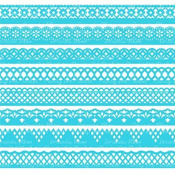 Paper Punch Tropical Blue Borders Clipart & Vectors - Border Clip Art