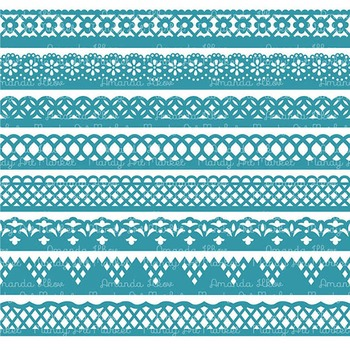 Paper Punch Vintage Blue Borders Clipart & Vectors - Border Clip Art