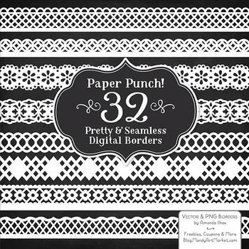 Paper Punch White Borders Clipart & Vectors - Border Clip Art, Page Borders