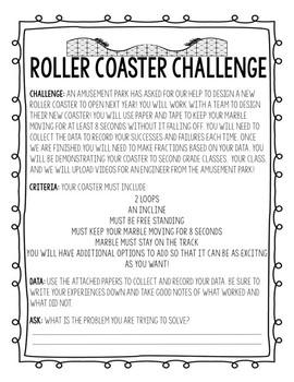 Paper Roller Coaster STEM project Data Sheets