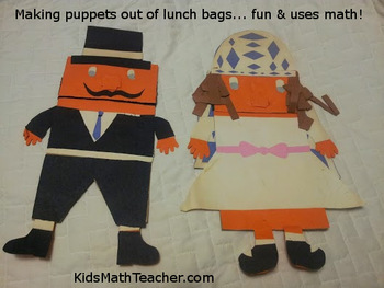 Paper Sack Puppets project: 4.MD.A.1 focus
