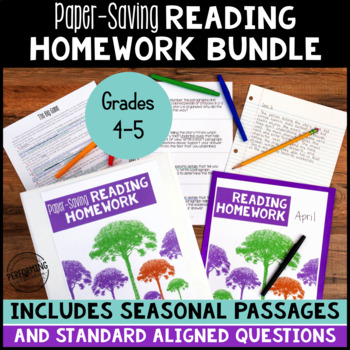 Paper Saving Reading Homework for 4th & 5th YEAR LONG BUNDLE