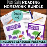 Paper Saving Reading Homework/Reading Test Prep for 4th &
