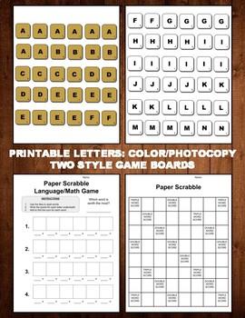 Paper Scrabble Language/Math Game