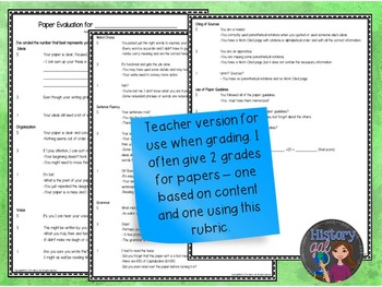 Paper Self-Evaluation: a tool to help students write better papers