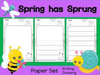 Paper Set : Spring has Sprung : Black and White - Primary Lines